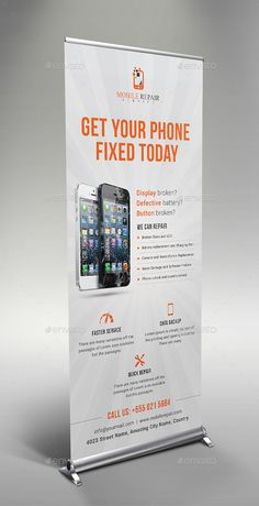 Buy Smartphone Repair Service Roll Up Banner by themedevisers on GraphicRiver. Mobile Repair Service Roll Up Banner Template. This template is suitable for mobile repair business, computer repair. Shop Banner Design, Mobile Shop Design, Buy Smartphone, Smartphone Hacks, Laura Lee, Mobile Phone Shops, Mobile Phones, Computer Repair Services, Roll Up Design