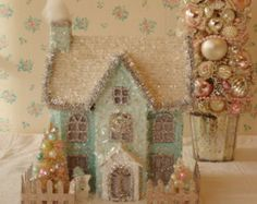 Shabby PINK Putz House with Mica Glitter Lighted by IllusiveSwan