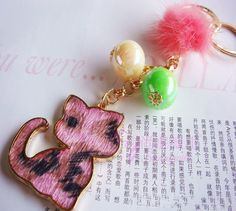 Jelly Colored Bead Leopard Cat Key Chain - Gift Ideas Guess You Like It