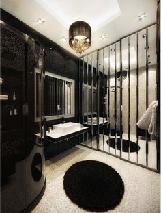 Luxurious Apartment Bathroom Decorations with Sparkling Black Wall ...