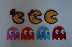 The Pac Family and the Four Ghosts - PacMan hama beads by MegaSparkster