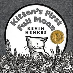 Kitten's First Full Moon by Kevin Henkes.  I'm a big Kevin Henkes fan but somehow I'd missed this book until my pal Kristen pulled it out of her bag last weekend! It's a great favorite of my little goddaughter, who is just eighteen months old, and Huck and Rilla swooped in upon it immediately. The black-and-white art is magnificent. Like Little Bird above, Kitten spies the big white moon and wants a taste. It looks, after all, just like a gigantic saucer of milk.