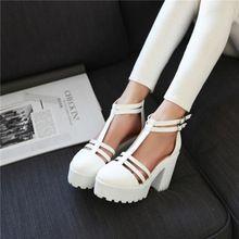 2015 mujeres calientes del dedo del pie redondo Chunky bloque de tacón alto T-Strap sandals zapato con cierre de plataforma zapatos de fiesta más tamaño(China (Mainland))