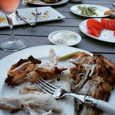 Summer BBQ Dinner - Chicken, Lebanese Garlic Paste (Toum), Pickles, Tomato and a French Rosè. I love my friends and show them with good food :)