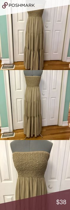 Michael Kors dress Absolutely beautiful dress. Top is stretchy elastic to waist .  very comfortable to wear. Beautiful beige fabric with slight gathering. MICHAEL Michael Kors Dresses Maxi