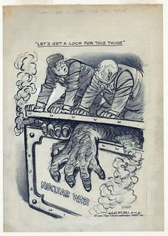 "Great Cuban Missile Crisis Editorial Cartoon: President Kennedy to Premier Khrushchev: :""Let's Get a Lock for This Thing"" . History Projects, Book Projects, Cold War Propaganda, Satirical Illustrations, Ap World History, Nuclear War, Teaching History, Cartoon Shows, Political Cartoons"