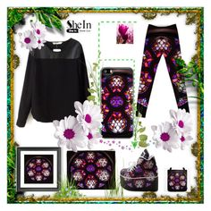 """""""SheIn Black Long Sleeve Contrast PU Blouse"""" by stine1online ❤ liked on Polyvore featuring moda"""