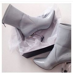 Gray ankle boots Gray ankle boots with clear heel Shoes Ankle Boots & Booties
