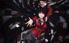 hair kakegurui yumeko cards jabami anime gambling funny saiki games background netflix manga desktop picstatio goals dos