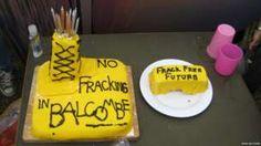 a No Fracking cake from Balcombe Bbc News, Baking, Cake, Desserts, Food, Tailgate Desserts, Deserts, Bakken, Kuchen