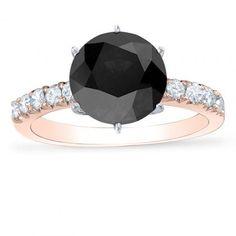 Rose Gold Black Diamond Engagement Rings