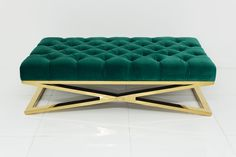 Brass X-Base Ottoman in Regal Laguna Velvet