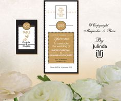 From the 'Immaculate Black, White, Gold' couture collection. Wedding Invitations, RSVP, Map/Directions, Menus, Table and Favour/Decor Swing Tags.  | © Julinda at Magnolia & Rose Weddings