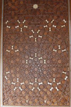 Intricate woodwork in the Suleymaniye Camii.