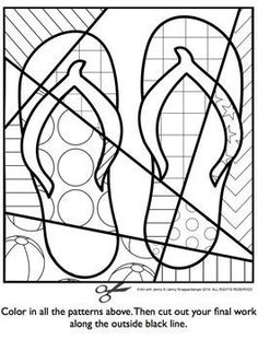 POP ART INTERACTIVE COLORING SHEET: FREEBIE FOR SUMMER -Students and teachers love this free flip flop coloring page! TeachersPayTeachers.com