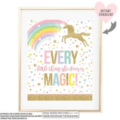 Unicorn Wall Quote Unicorn Party Sign by PixelPerfectionParty