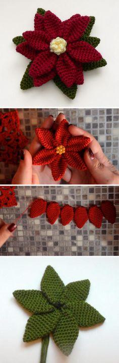 15+ Crochet Poinsettia Christmas Flower Ideas