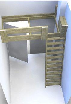 Clever idea for a narrow bedroom Small Room Bedroom, Small Rooms, Kids Bedroom, Small Spaces, Narrow Bedroom, Loft Room, Bedroom Loft, Bedroom Decor, Build A Loft Bed