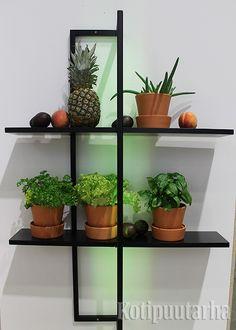 Frame - säädettävä kasvihyllyjärjestelmä valaisimella. Suunnittelu Elina Ulvio. Planter Pots, Frame, Furniture, Picture Frame, Home Furnishings, Frames, Arredamento