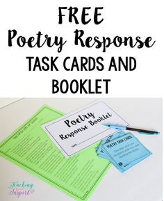 FREE poetry response task cards and a response booklet on this post along with NINE other reading center ideas for upper elementary grades.