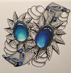 Gems and tangle... With prismacolor