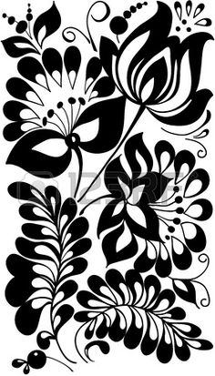 черно-белые цветы и листья цветочные элементы дизайна в стиле ретро Фото со стока
