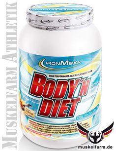 IronMaxx Body'n Diet ist eine komplexe, kalorienarme Diätmahlzeit, ein Mahlzeitersatzdrink mit wichtigen Nährstoffen für die Ernährung in der Diät.