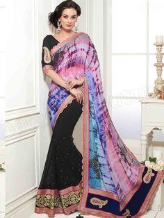 #Designer Sarees # Black & Blue #Indian Wear #Desi Fashion #Natasha Couture #Indian Ethnic Wear