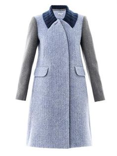 Contrast sleeve wool coat