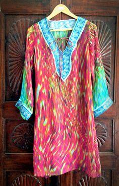 Short Kaftan top embroidered summer kurti beach by ArabianThreads, $140.00