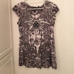 Shirt Very soft material polyester/spandex with pretty beading. Worn only a couple times. Apt. 9 Tops Blouses