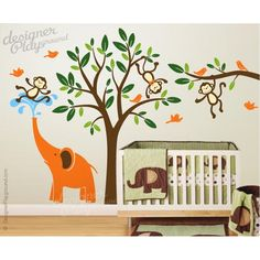 Monkeys Wall Stickers   Giraffe With Monkeys Wall Decals   PLSF020L |  Pinterest | Animal Wall Decals, Wall Decals And Nursery
