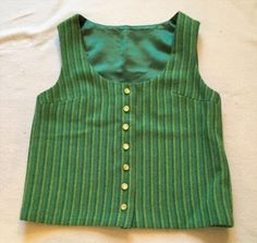39.99$  Buy now - http://vieaz.justgood.pw/vig/item.php?t=4b158g1373 - Vintage Womens Psychedelic Green Button Up Vest
