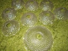 Lot Of 9 Vintage Chandelier Glass Bobeche Cups Parts Beautiful Must See