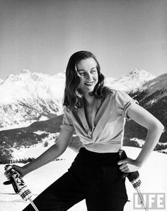 Alexandra Wolff skiing in the Alps in St. Moritz, Switzerland by Alfred Eisenstaedt for LIFE, 1947.