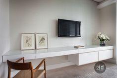 Floating desk tv unit in master bedroom idea Bedroom Wall Units, Desk Wall Unit, Bedroom Desk, Master Bedroom, Study Desk, Closet Bedroom, Bedroom Storage, Small Space Living Room, Living Room Tv Unit Designs