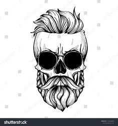 Caveira Mexicana Tattoo, Tattoo Caveira, Hair Vector, Vector Art, Totenkopf Tattoo, Skull Artwork, Skeleton Art, Skull Tattoos, Moustache