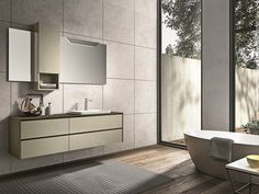 Lacquered wall-mounted vanity unit with drawers GIUNONE 357 - Edoné by Agorà Group