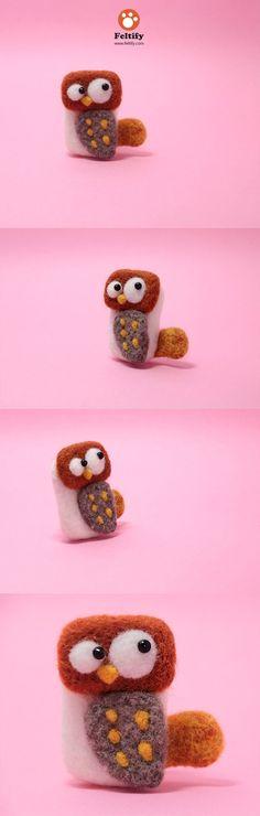 Needle Felted Felting Animals Owl Cute Brooch Jewelry | Feltify #Felt #handmade #cute #owl #brooch