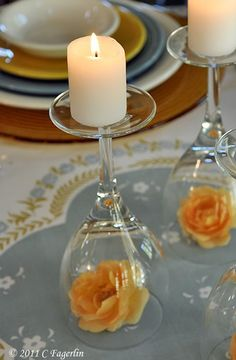 Such a simple but elegant way to add a a little romance to the table: wine glass candleholders & flowers. | The Micro Gardener