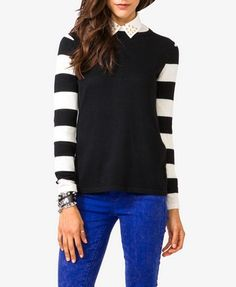 Forever21 Striped Sleeve Sweater  $19.80  Love it with colored jeans!