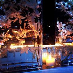 Formal Modern Classic // Wedding reception centerpieces with submerged orchids