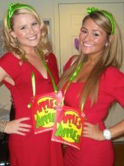"""""""We've Got Game,"""" with costumes inspired from board games, video game characters, TV game shows, card games, referees, and sports players. Game Costumes, Diy Costumes, Halloween Costumes, Sorority Costumes, Sorority Socials, Apple Costume, Social Themes, Tv Show Games, Kappa Delta"""