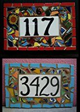 Tile Mosaic House Number Plaque, Address or Name Sign, Custom Hand Made > Customized and Hand Made To Order By Artist Amy Langer Can Say Anything You Want Tile Mosaic Art House/Address Number or Name Sign Plaque Mosaic Diy, Mosaic Glass, Mosaic Tiles, Stained Glass, Glass Art, Tile House Numbers, House Number Plaque, Hipster Decor, Mosaic Madness