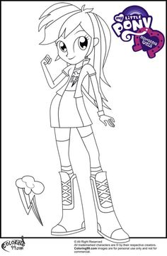 Rainbow Dash From My Little Pony Equestria Girls Coloring Page