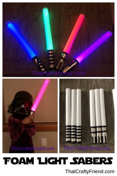 Now you can train to be a Jedi too! These Foam Light Sabers Actually Light Up! Great for your next birthday party or great party favor for a Star Wars themed party. They are soft and flexible and a great light saber for Jedi training.   They are approximately 18.5 inches in length and have a diameter of approximately 1.8 inches. They feature 3 different lighting options: fast flashing, slow flashing, and constant on. Light Saber, Light Up, Different Colors, Party Favors, Party Themes, Star Wars, Training, Crafty, Birthday