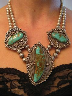vintage OLD PAWN NAVAJO ROYSTON TURQUOISE SQUASH BLOSSOM NECKLACE