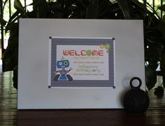 Welcome, my robot friends! - Robot Birthday Party #robot #robotparty #welcome