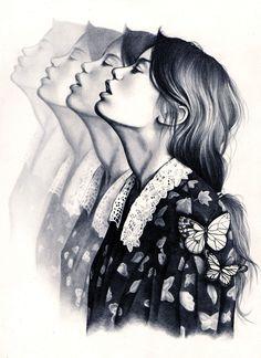 """""""Tengo una curiosidad insaciable por el mundo y todo lo que contiene a pesar de que éste quiere comerme"""". Kate Powell, nacida en West Yorkshire, Inglaterra, a la corta edad de diecisiete años, muestra una obra llena de ilustraciones románticas… retratos de mujeres envueltas conun gran sentimiento. El trabajo de Kate va más allá …"""
