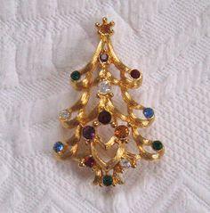 Rhinestone Christmas Tree  Brooch by Monet by vintagous on Etsy